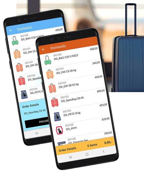 To mobiltelefoner foran en koffert på en flyplass