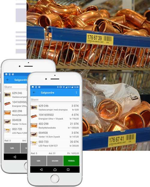 To mobiltelefoner foran bilde av hylle med rørdeler i en butikk