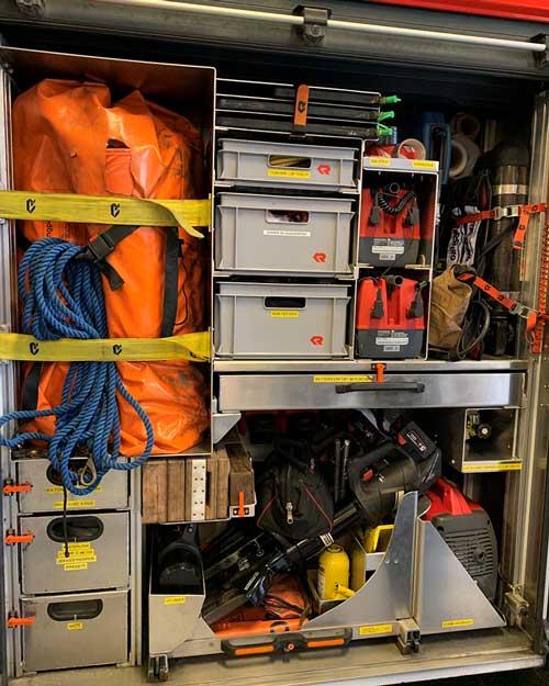 utstyr i en brannbil